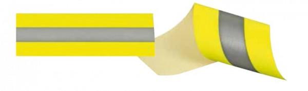 Reflexband, gelb-silber-gelb, matt